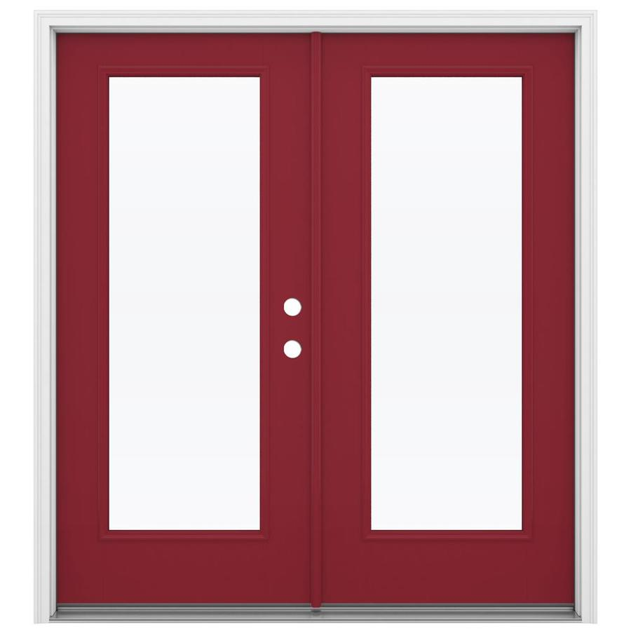 ReliaBilt 71.5-in x 79.5-in Clear Glass Left-Hand Inswing Red Fiberglass French Patio Door