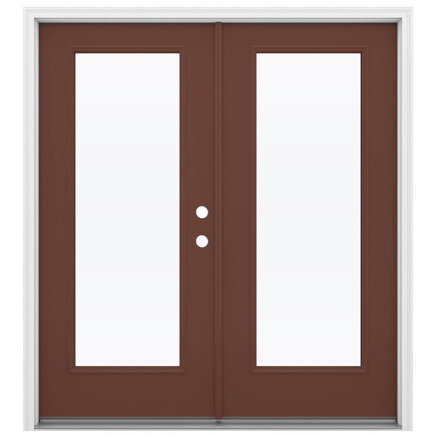 ReliaBilt 71.5-in 1-Lite Glass Foxtail Fiberglass French Inswing Patio Door