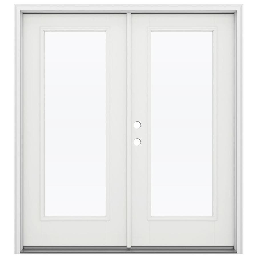 ReliaBilt 71.5-in 1-Lite Glass Arctic White Fiberglass French Inswing Patio Door