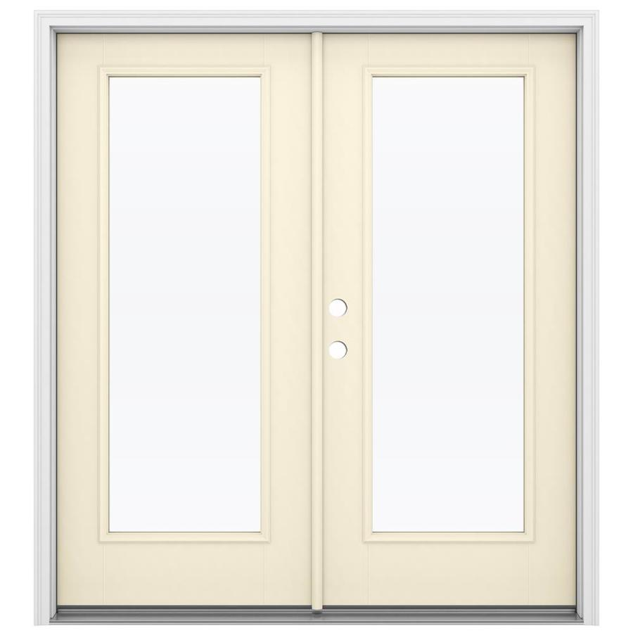 Shop reliabilt 71 5 in 1 lite glass bisque fiberglass for Fiberglass french patio doors