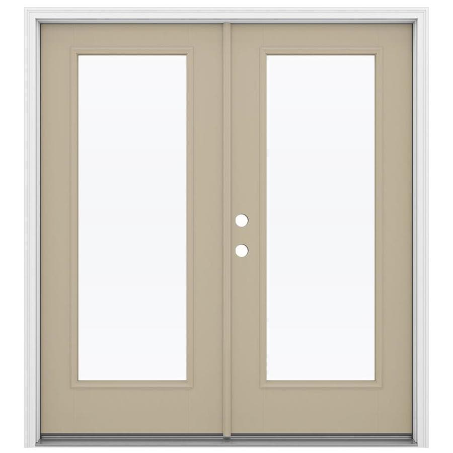 Shop reliabilt 71 5 in 1 lite glass sandy shore fiberglass for Fiberglass patio doors