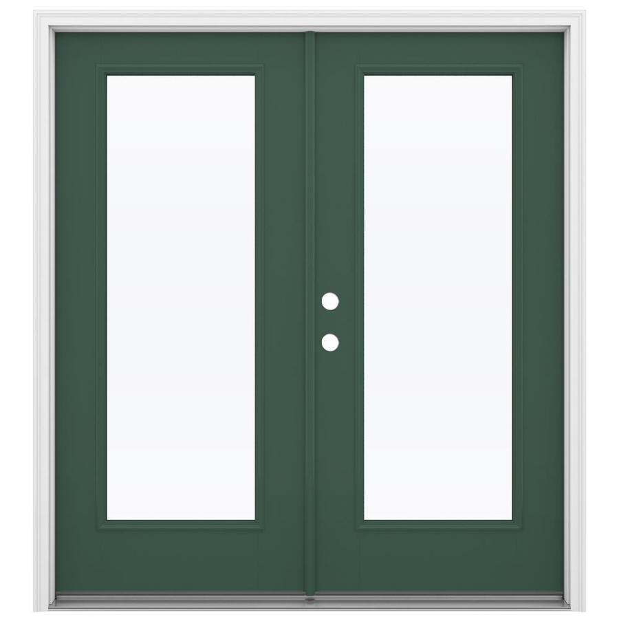 ReliaBilt 71.5-in x 79.5-in Right-Hand Inswing Green Fiberglass French Patio Door