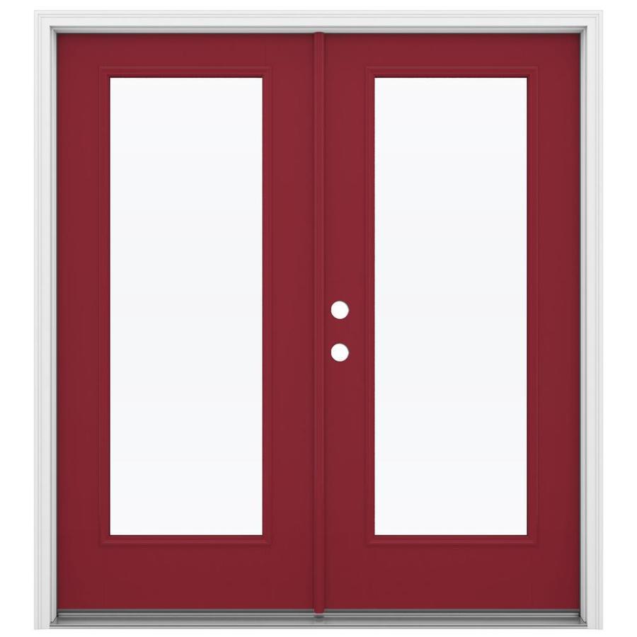 ReliaBilt 71.5-in 1-Lite Glass Roma Red Fiberglass French Inswing Patio Door