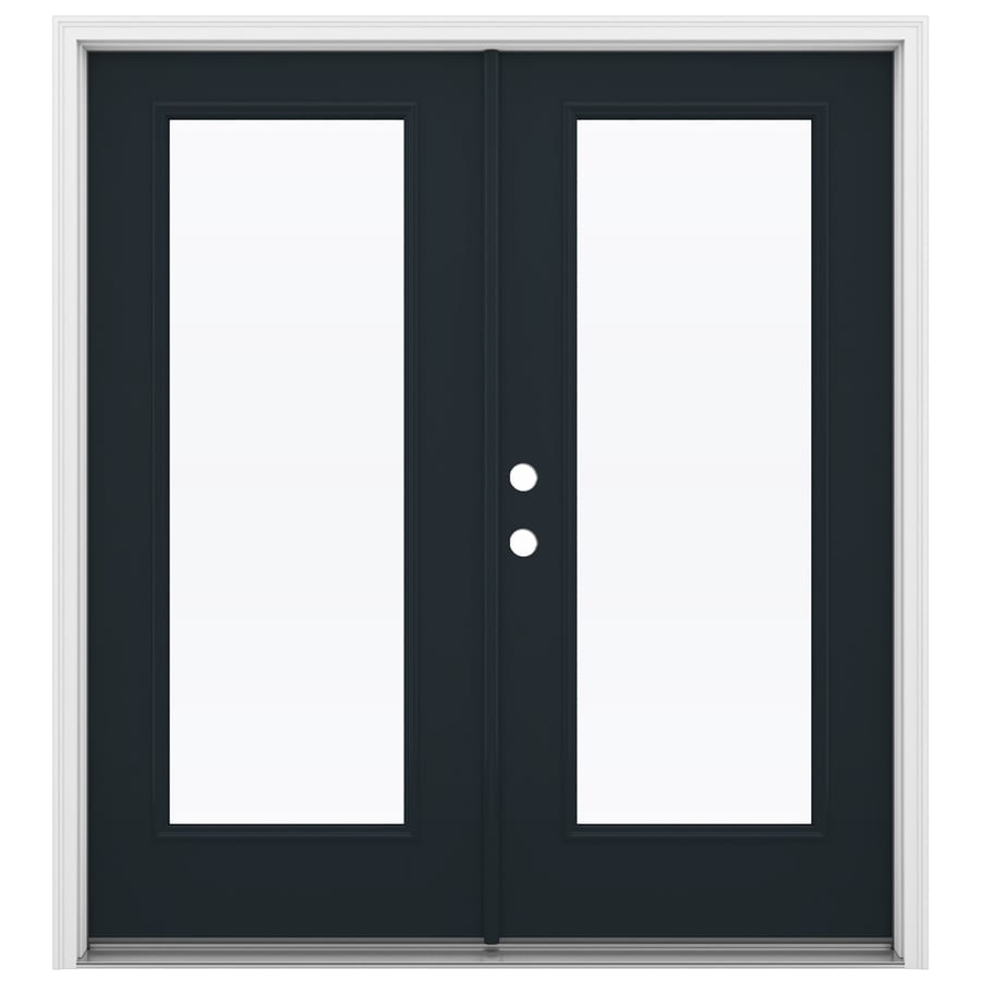 ReliaBilt 71.5-in x 79.5-in Clear Glass Right-Hand Inswing Black Fiberglass French Patio Door
