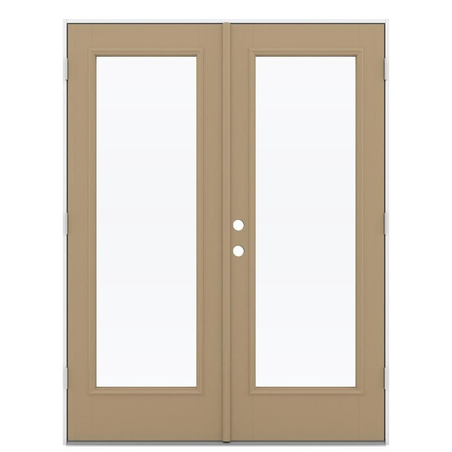 ReliaBilt 59.5-in 1-Lite Glass Warm Wheat Fiberglass French Outswing Patio Door