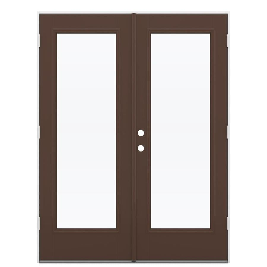 Shop reliabilt 59 5 in 1 lite glass chococate fiberglass for Fiberglass french patio doors