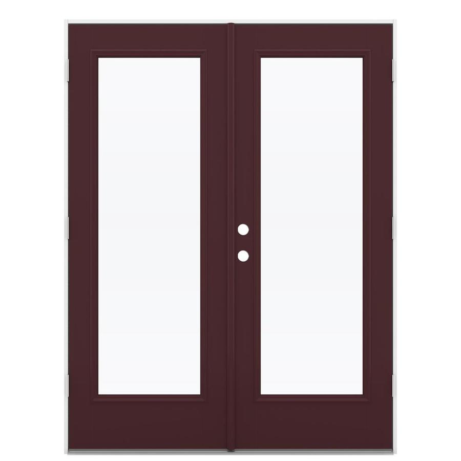 ReliaBilt 59.5-in x 79.5-in Clear Glass Left-Hand Outswing Brown Fiberglass French Patio Door