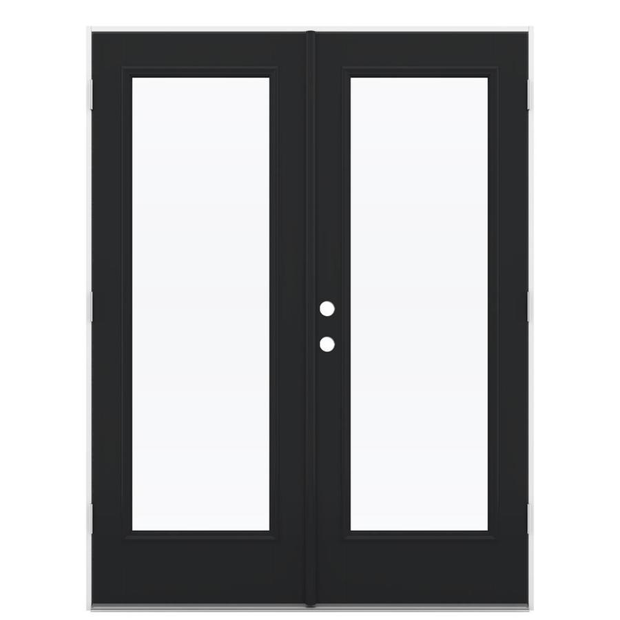 ReliaBilt 59.5-in 1-Lite Glass Peppercorn Fiberglass French Outswing Patio Door