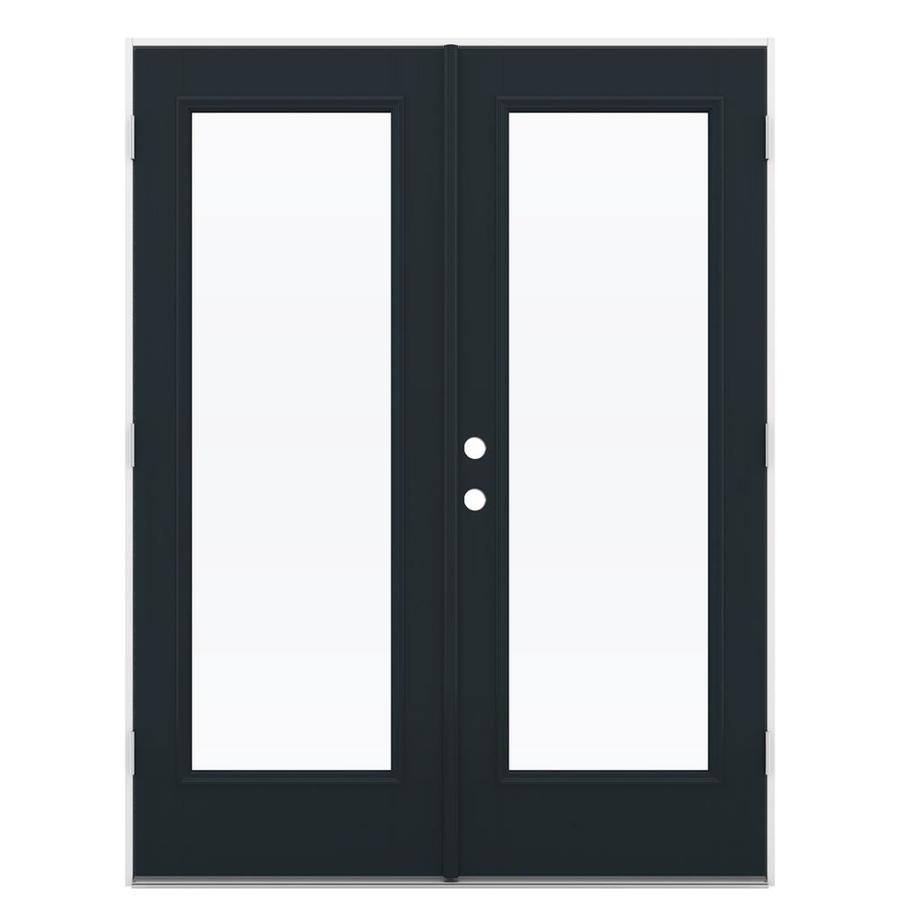 ReliaBilt 59.5-in x 79.5-in Clear Glass Left-Hand Outswing Black Fiberglass French Patio Door