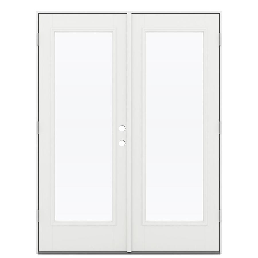 ReliaBilt 59.5-in 1-Lite Glass Arctic White Fiberglass French Outswing Patio Door