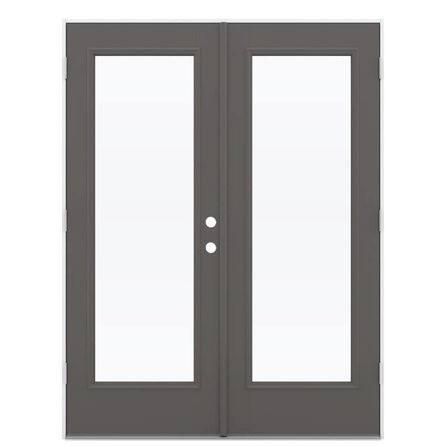 ReliaBilt 59.5-in 1-Lite Glass Timber Gray Fiberglass French Outswing Patio Door