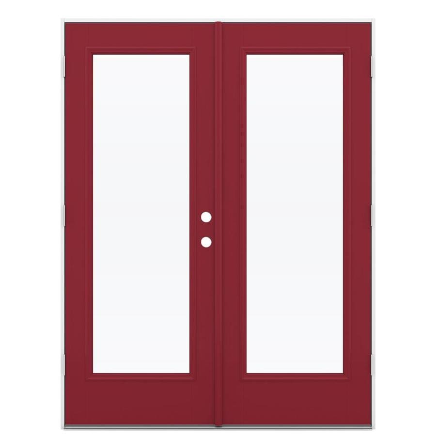 ReliaBilt 59.5-in 1-Lite Glass Roma Red Fiberglass French Outswing Patio Door