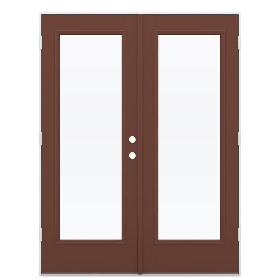 ReliaBilt 59.5-in x 79.5-in Clear Glass Right-Hand Outswing Brown Fiberglass French Patio Door