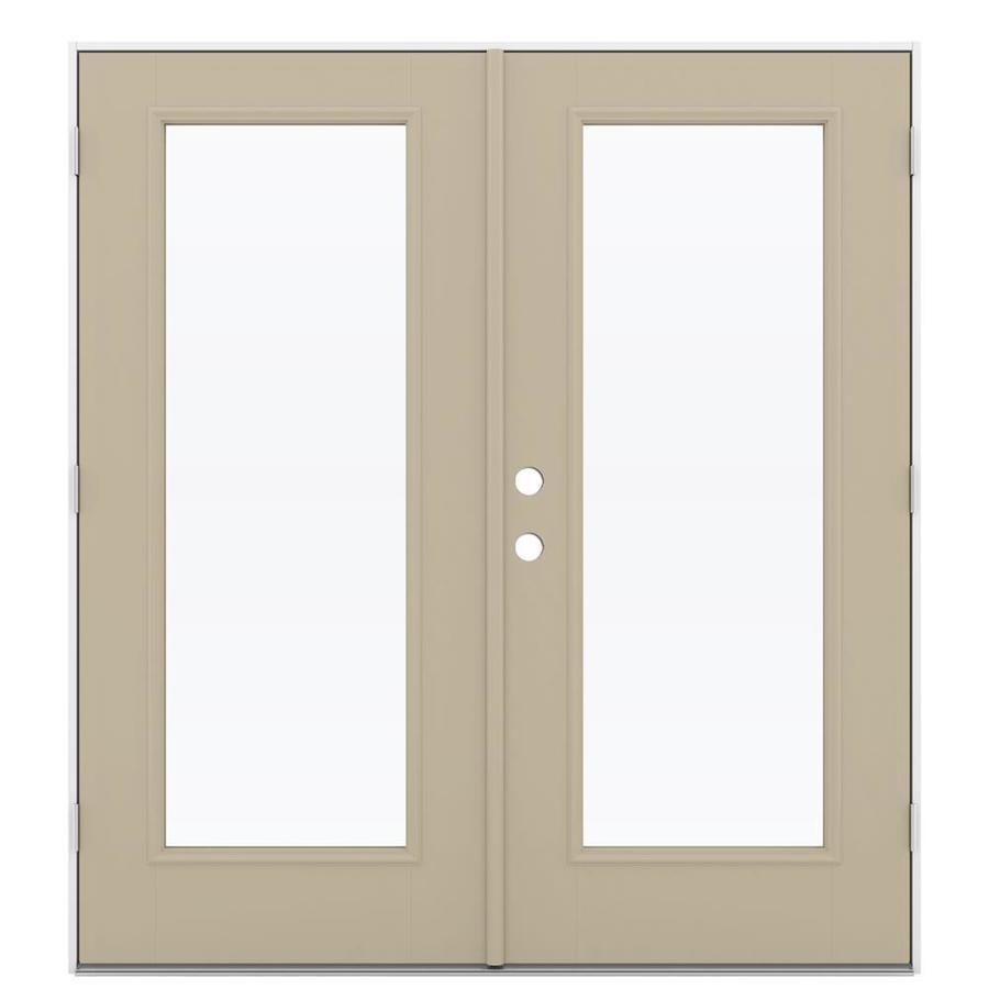 ReliaBilt 71.5-in 1-Lite Glass Sandy Shore Fiberglass French Outswing Patio Door