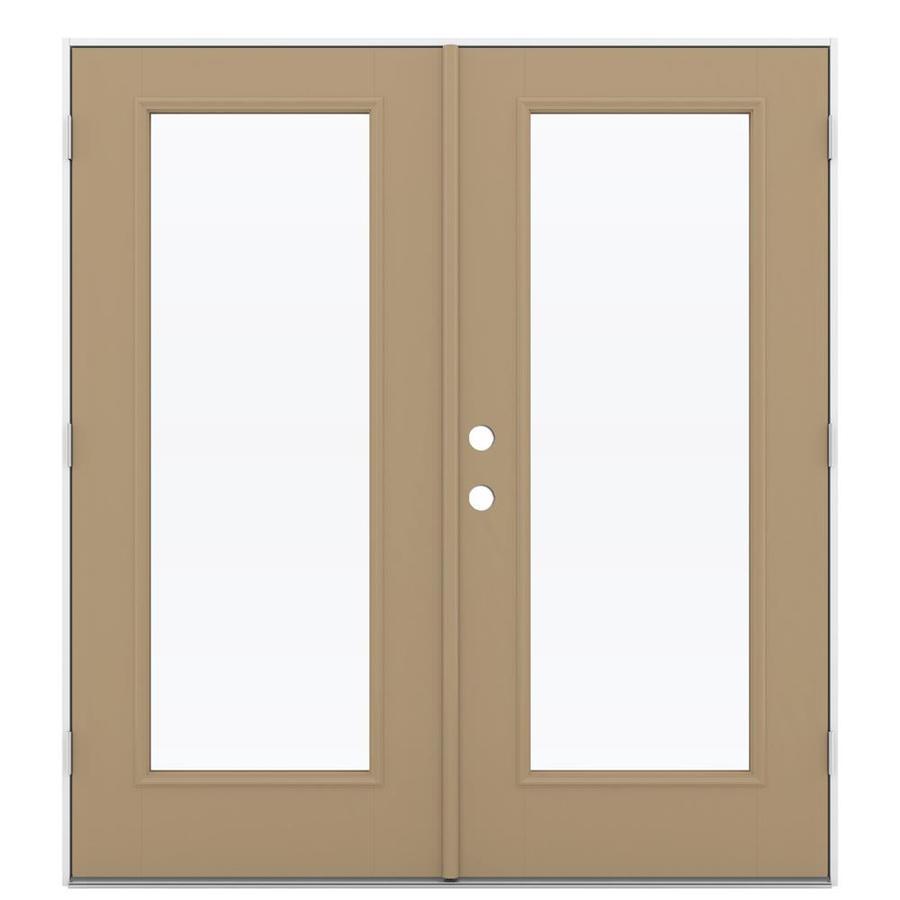 ReliaBilt 71.5-in 1-Lite Glass Warm Wheat Fiberglass French Outswing Patio Door