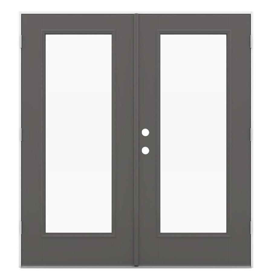 ReliaBilt 71.5-in 1-Lite Glass Timber Gray Fiberglass French Outswing Patio Door