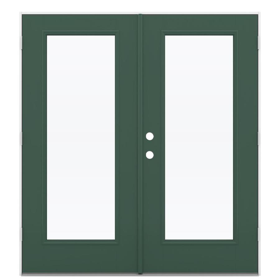 ReliaBilt 71.5-in x 79.5-in Clear Glass Left-Hand Outswing Green Fiberglass French Patio Door