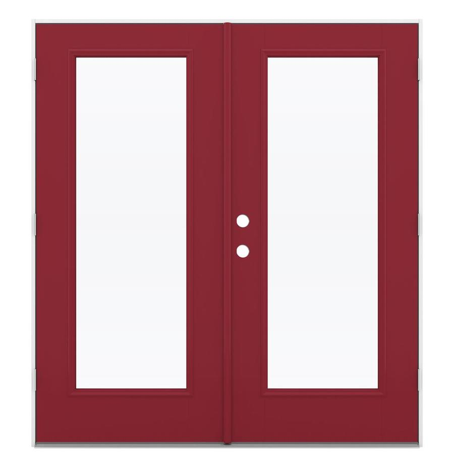 ReliaBilt 71.5-in 1-Lite Glass Roma Red Fiberglass French Outswing Patio Door