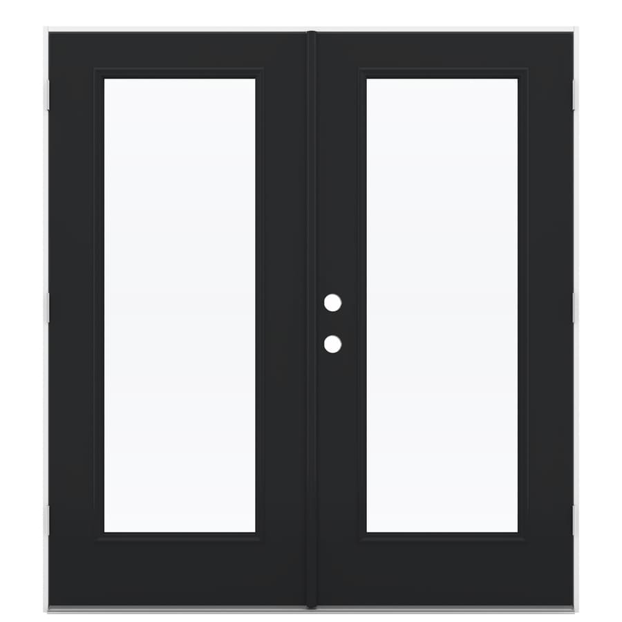 ReliaBilt 71.5-in x 79.5-in Clear Glass Left-Hand Outswing Black Fiberglass French Patio Door