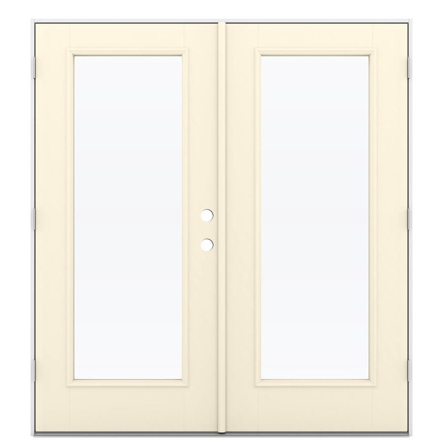 Shop reliabilt 71 5 in 1 lite glass bisque fiberglass for Fiberglass patio doors