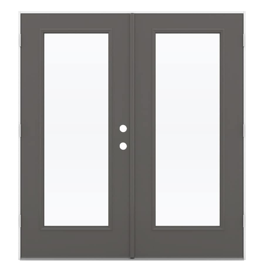 ReliaBilt 71.5-in 1-Lite Glass Timber Gray Fiberglass French Outswing Patio Door