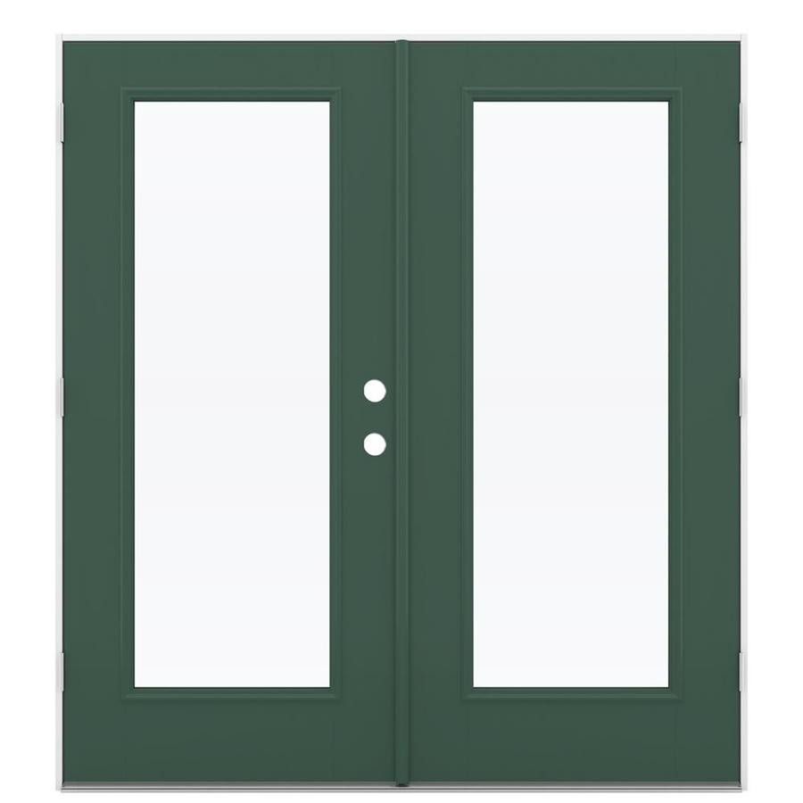ReliaBilt 71.5-in 1-Lite Glass Evergreen Fiberglass French Outswing Patio Door