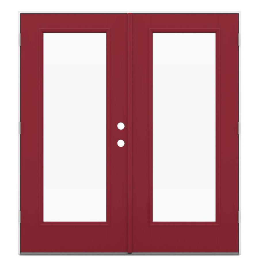 ReliaBilt 71.5-in x 79.5-in Clear Glass Right-Hand Outswing Red Fiberglass French Patio Door