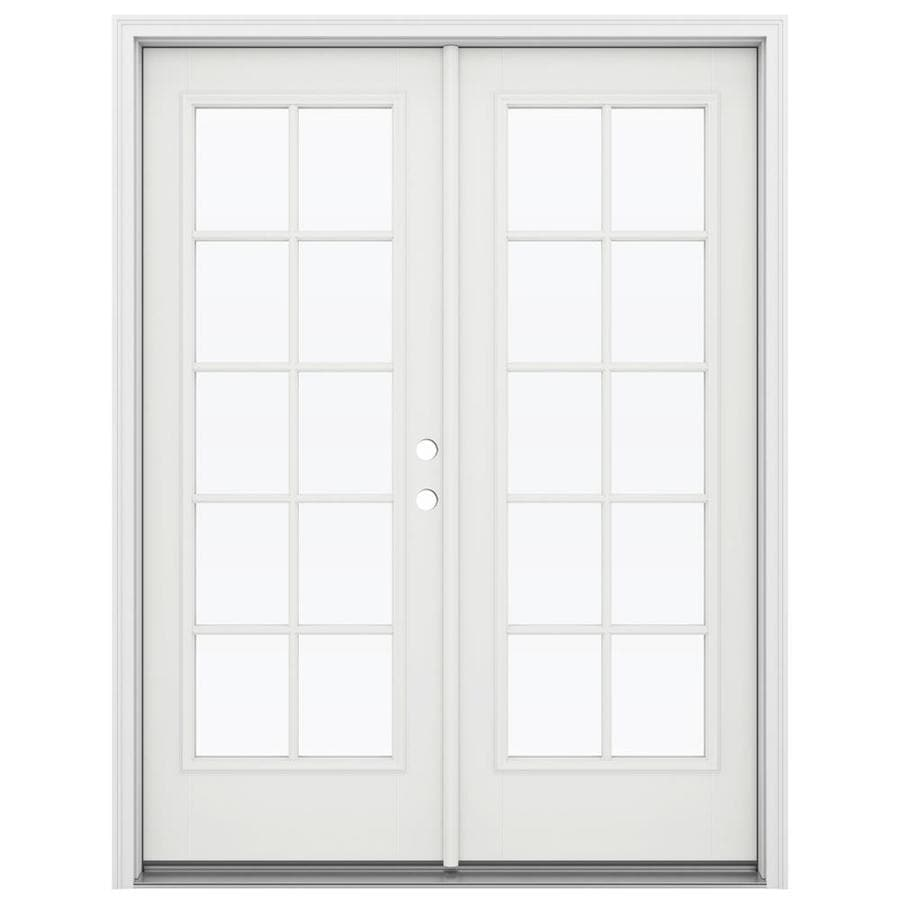 ReliaBilt 59.5-in 10-Lite Glass Arctic White Fiberglass French Inswing Patio Door