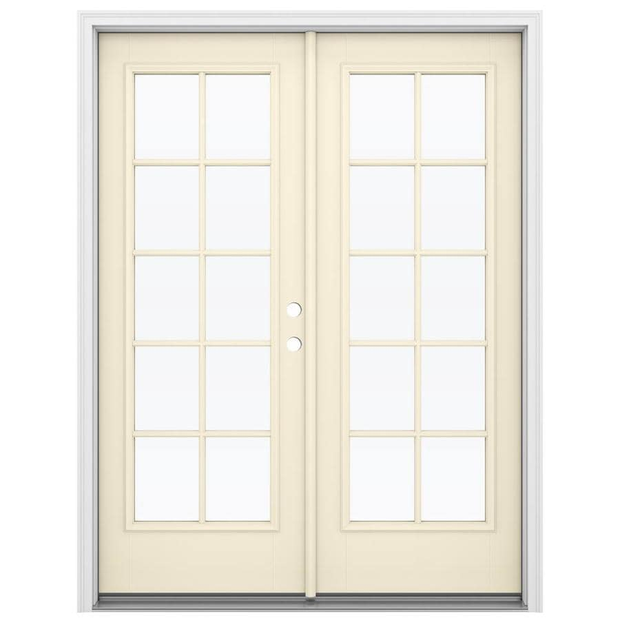 ReliaBilt 59.5-in x 79.5-in Simulated Divided Light Left-Hand Inswing Off-white Fiberglass French Patio Door