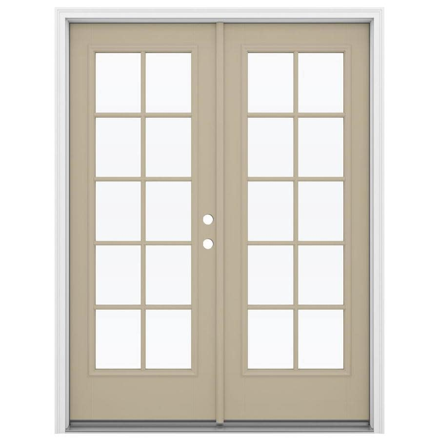ReliaBilt 59.5-in x 79.5-in Simulated Divided Light Left-Hand Inswing Brown Fiberglass French Patio Door