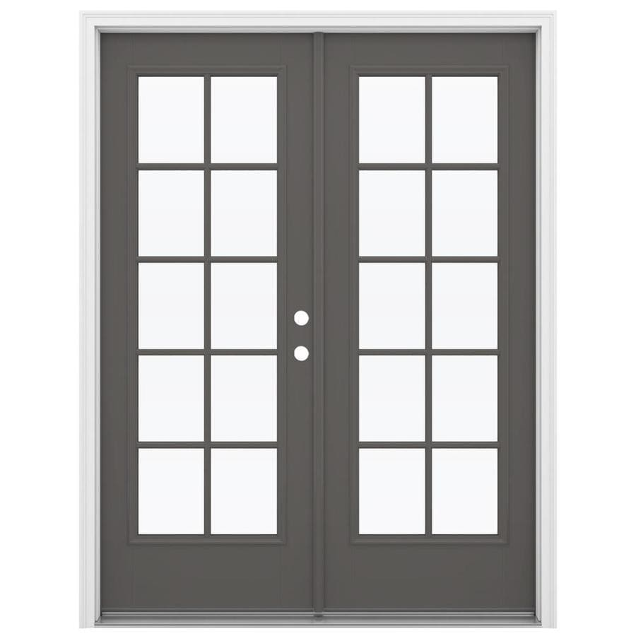ReliaBilt 59.5-in 10-Lite Glass Timber Gray Fiberglass French Inswing Patio Door