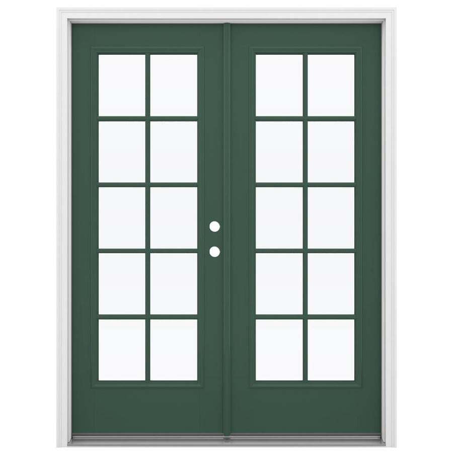 ReliaBilt 59.5-in x 79.5-in Simulated Divided Light Left-Hand Inswing Green Fiberglass French Patio Door