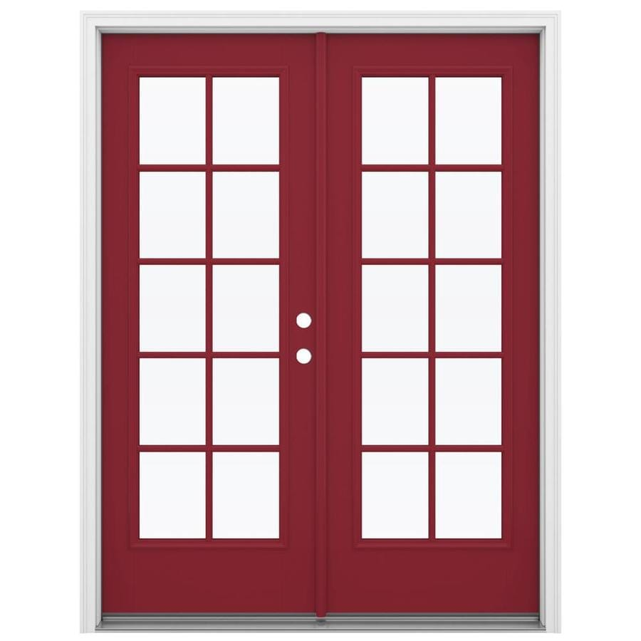 ReliaBilt 59.5-in 10-Lite Glass Roma Red Fiberglass French Inswing Patio Door
