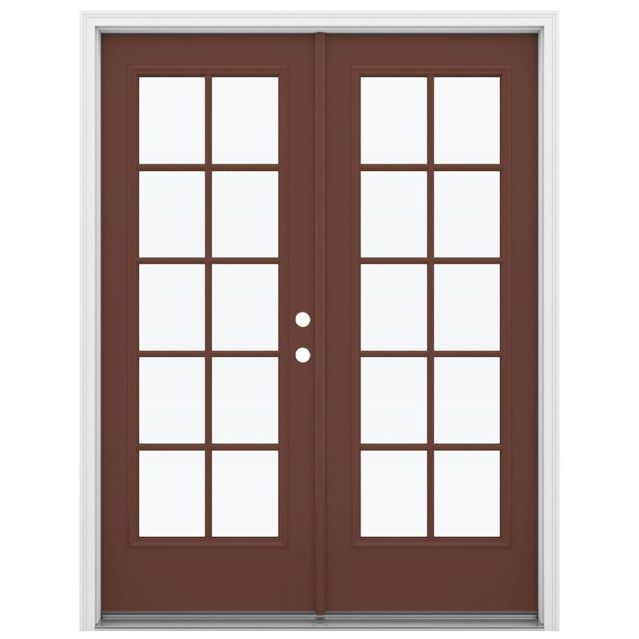 ReliaBilt 59.5-in 10-Lite Glass Foxtail Fiberglass French Inswing Patio Door