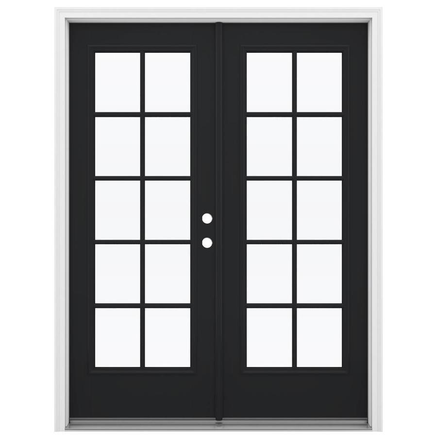 ReliaBilt 59.5-in 10-Lite Glass Peppercorn Fiberglass French Inswing Patio Door