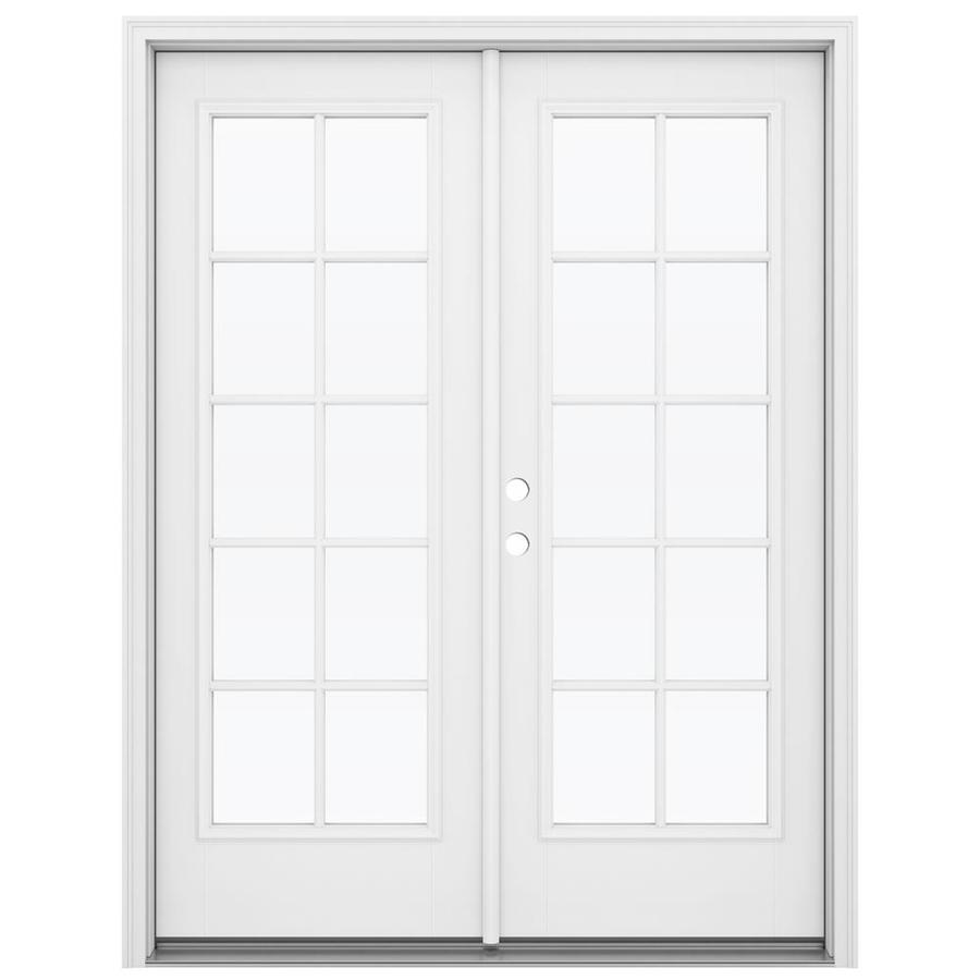 ReliaBilt 59.5-in 10-Lite Glass Primed Fiberglass French Inswing Patio Door