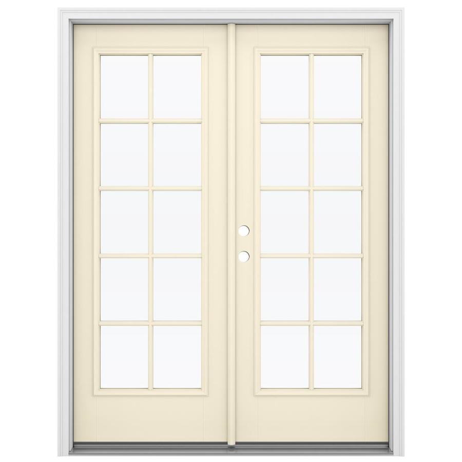 ReliaBilt 59.5-in 10-Lite Glass Bisque Fiberglass French Inswing Patio Door