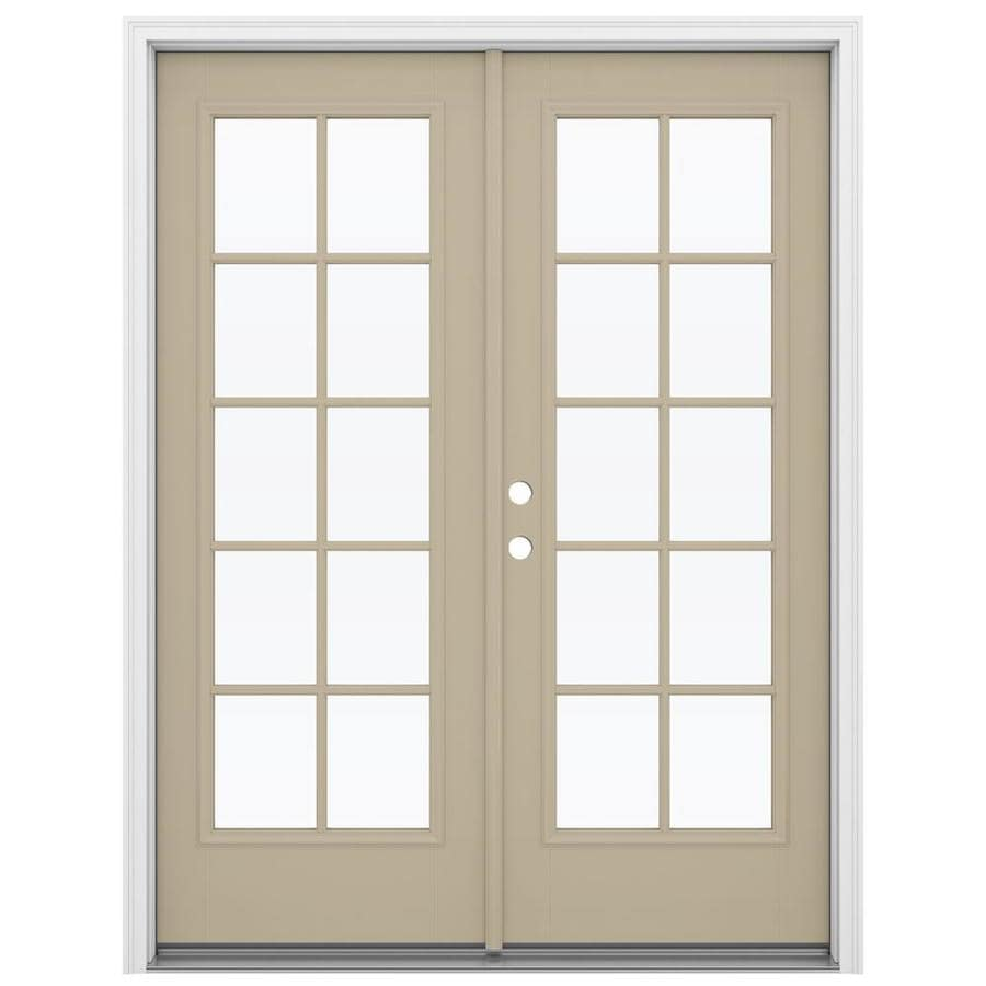 ReliaBilt 59.5-in 10-Lite Glass Sandy Shore Fiberglass French Inswing Patio Door
