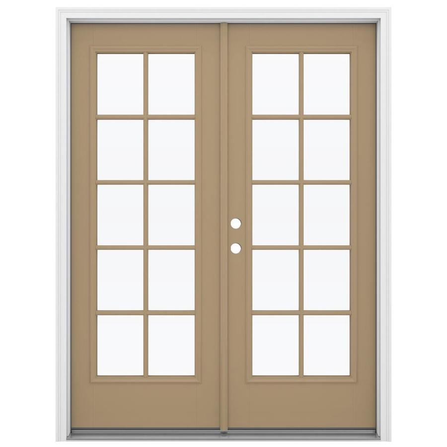 ReliaBilt 59.5-in 10-Lite Glass Warm Wheat Fiberglass French Inswing Patio Door