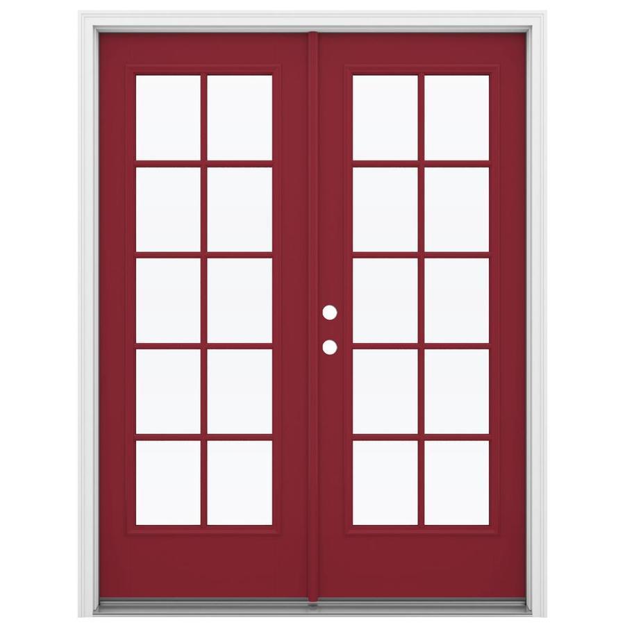 ReliaBilt 59.5-in 10-Lite Glass Roma Red Fiberglass French Inswing Patio Door