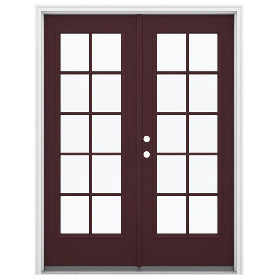 ReliaBilt 59.5-in x 79.5-in Simulated Divided Light Right-Hand Inswing Brown Fiberglass French Patio Door