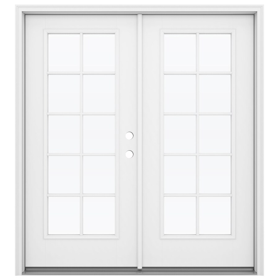 ReliaBilt 71.5-in 10-Lite Glass Primed Fiberglass French Inswing Patio Door