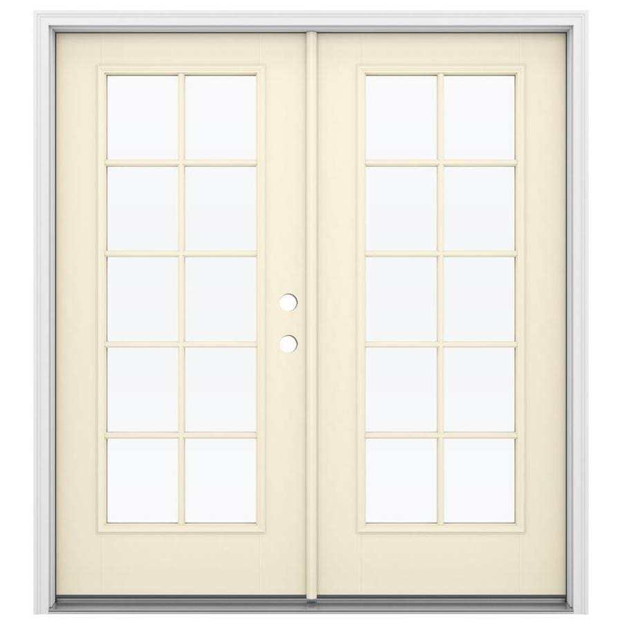 ReliaBilt 71.5-in x 79.5-in Simulated Divided Light Left-Hand Inswing Off-white Fiberglass French Patio Door