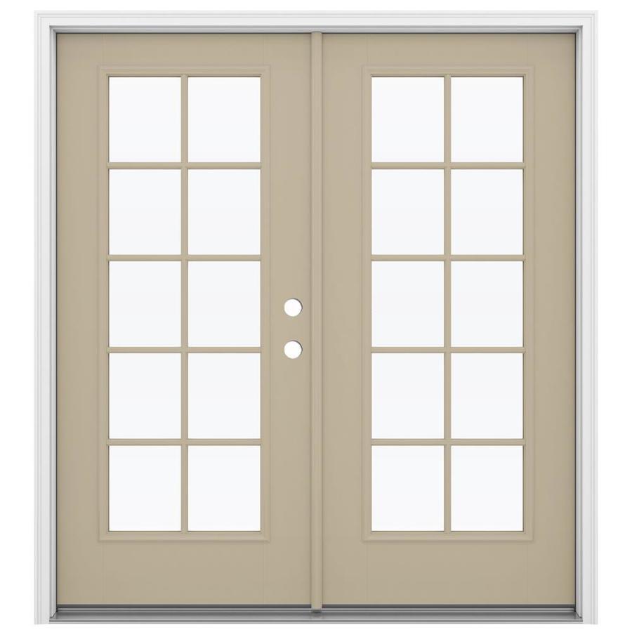 ReliaBilt 71.5-in 10-Lite Glass Sandy Shore Fiberglass French Inswing Patio Door