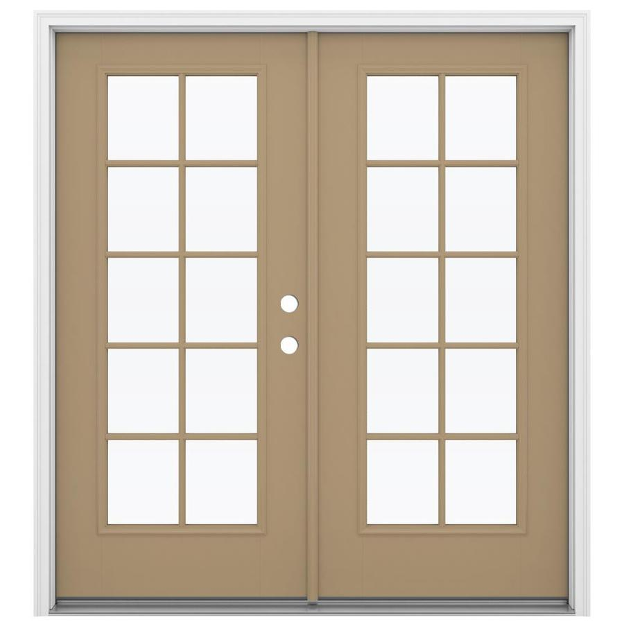 ReliaBilt 71.5-in x 79.5-in Simulated Divided Light Left-Hand Inswing Brown Fiberglass French Patio Door