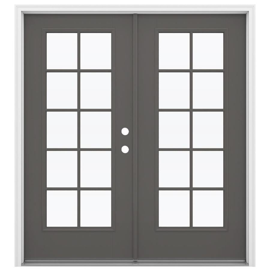 ReliaBilt 71.5-in 10-Lite Glass Timber Gray Fiberglass French Inswing Patio Door
