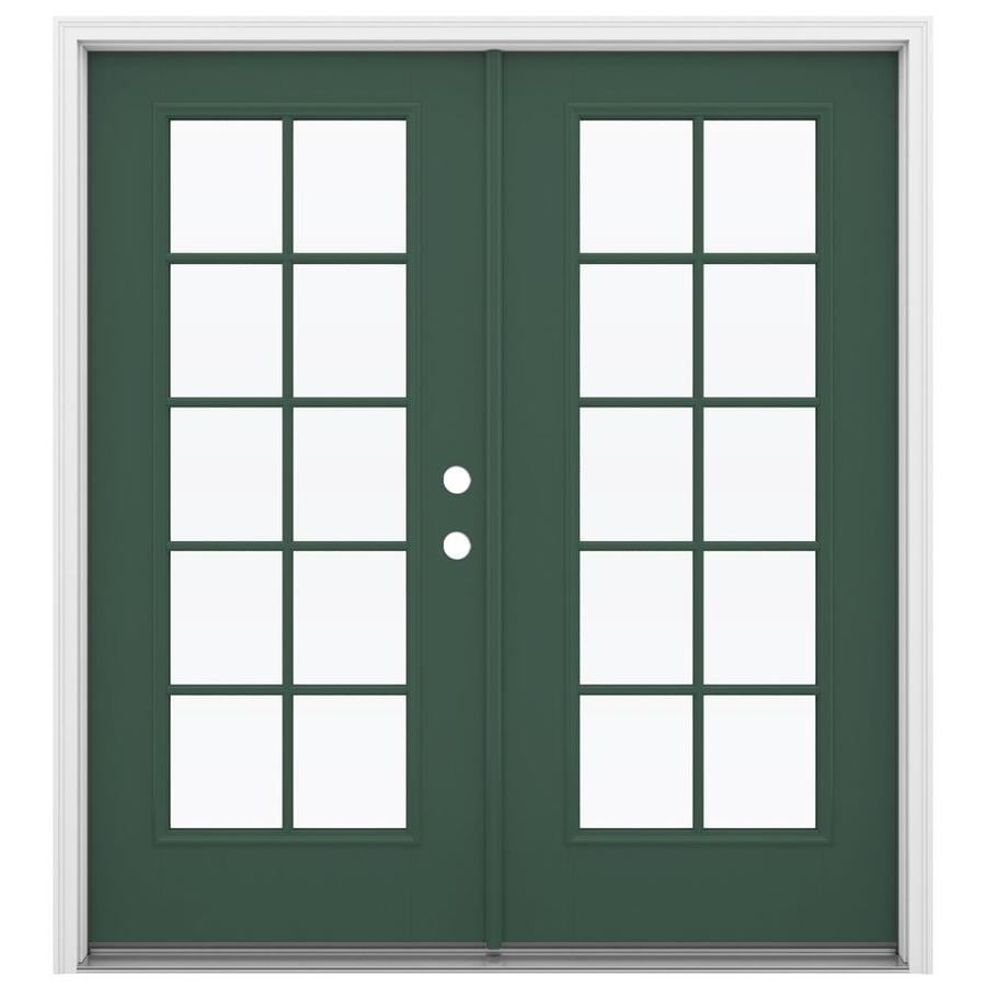 ReliaBilt 71.5-in x 79.5-in Simulated Divided Light Left-Hand Inswing Green Fiberglass French Patio Door