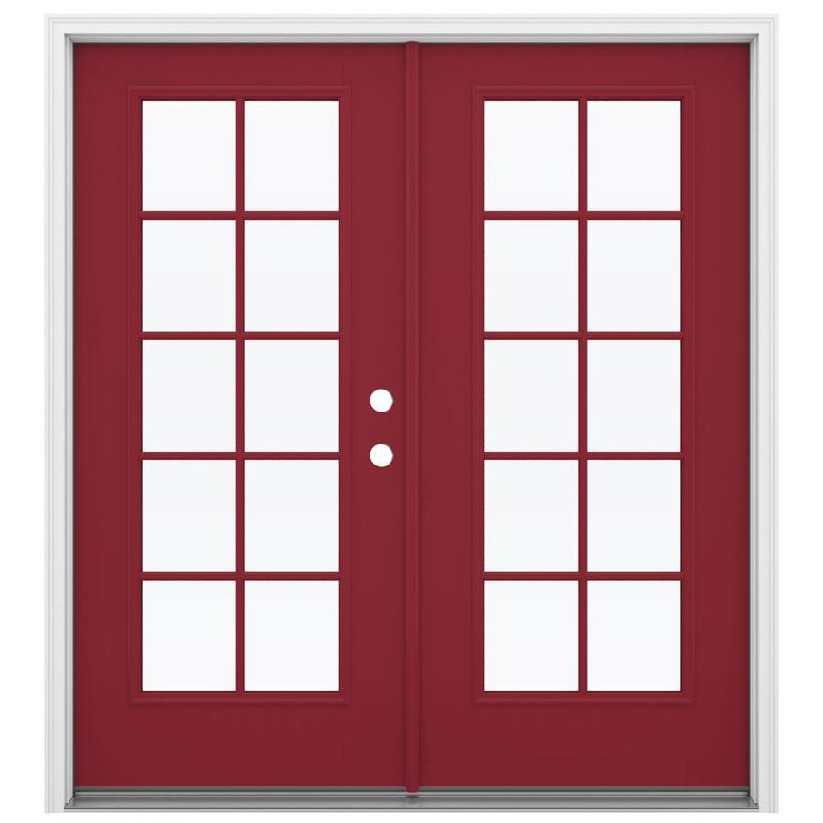 ReliaBilt 71.5-in 10-Lite Glass Roma Red Fiberglass French Inswing Patio Door