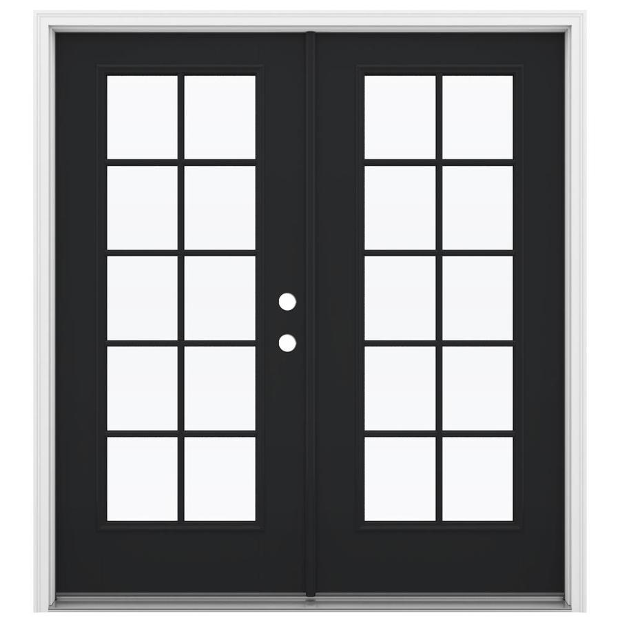 ReliaBilt 71.5-in 10-Lite Glass Peppercorn Fiberglass French Inswing Patio Door