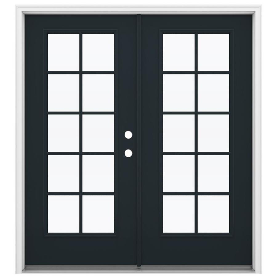 ReliaBilt 71.5-in 10-Lite Glass Eclipse Fiberglass French Inswing Patio Door